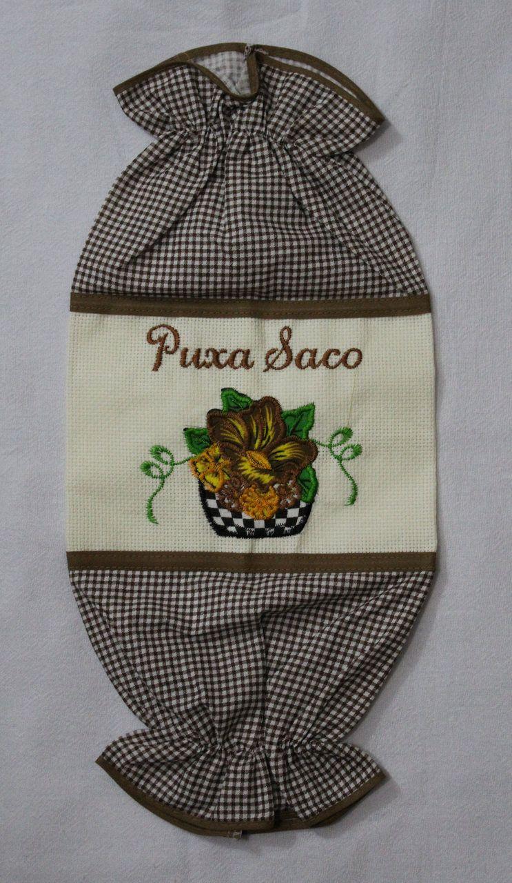Puxa Saco Bordado Marrom - Vaso de Flor