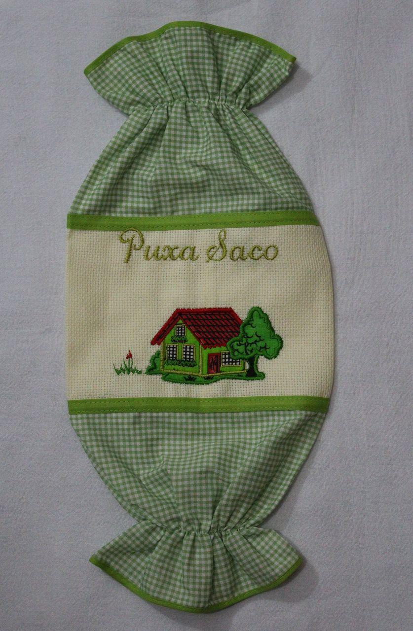 Puxa Saco Bordado Verde - Casinha