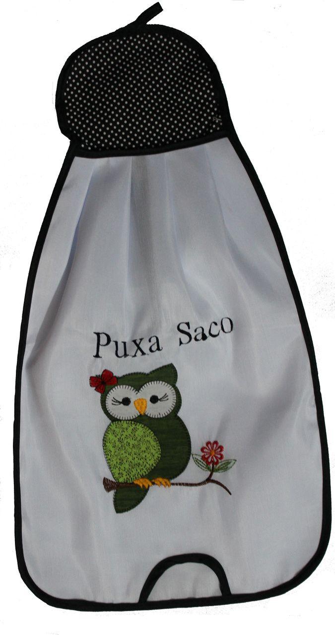 Puxa Saco Grande com Aplique Patchwork   - Coruja