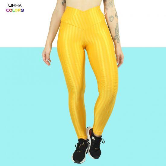Calça Legging 3D Lisa Cós Transpassado Tecnologia UVA e UVB colors