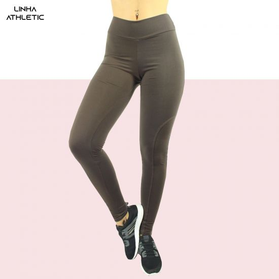 Calça Legging De Supplex Com Recorte