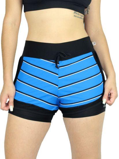 Shorts Sobreposto com listras Blue em Fluity