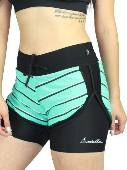 Shorts Sobreposto com listras Green em Fluity