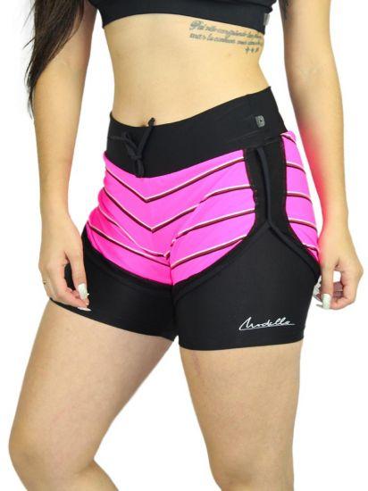 Shorts Sobreposto com listras Pink em Fluity
