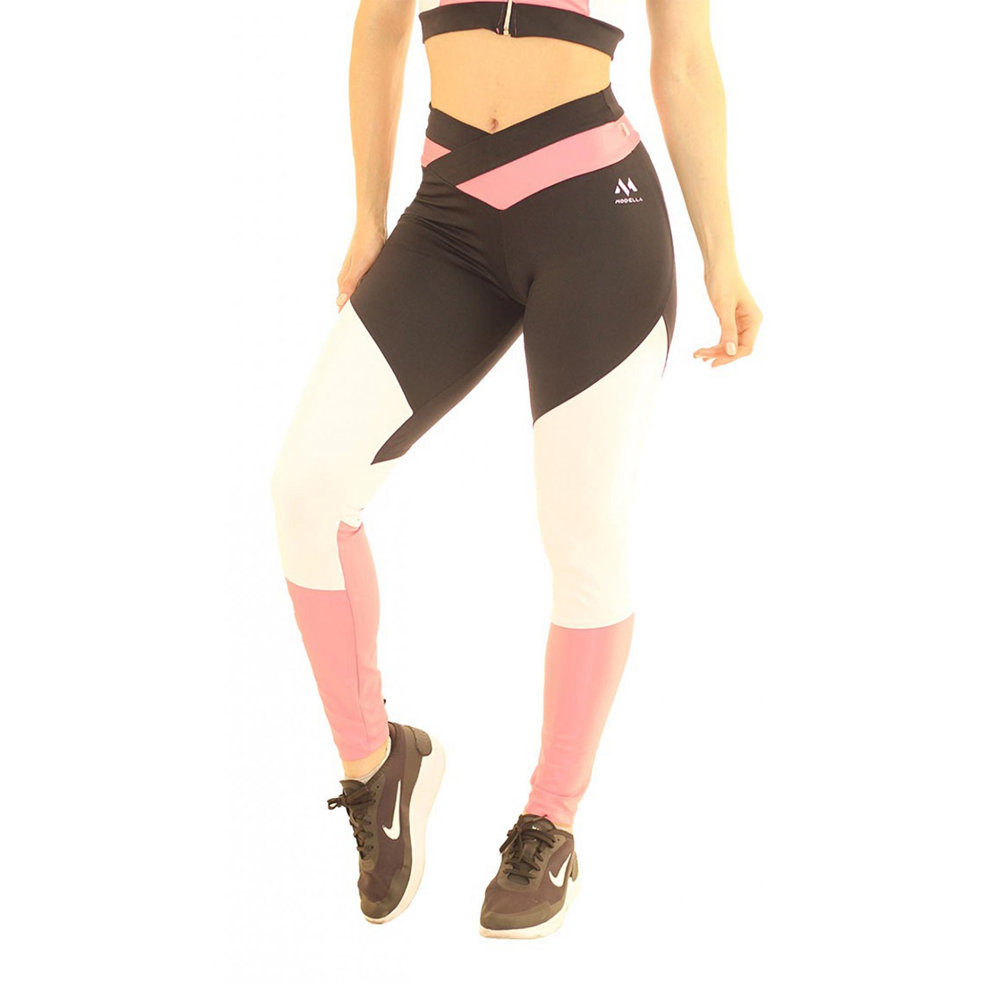 Calça Legging Collor Way Esportiva Fitness Preto com Rosa