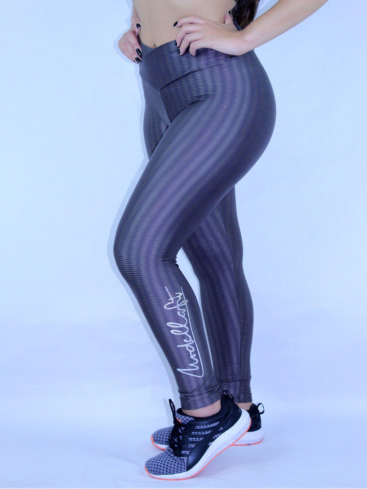 Legging 3D Cós transpassado de Poliamida  Chumbo Modella