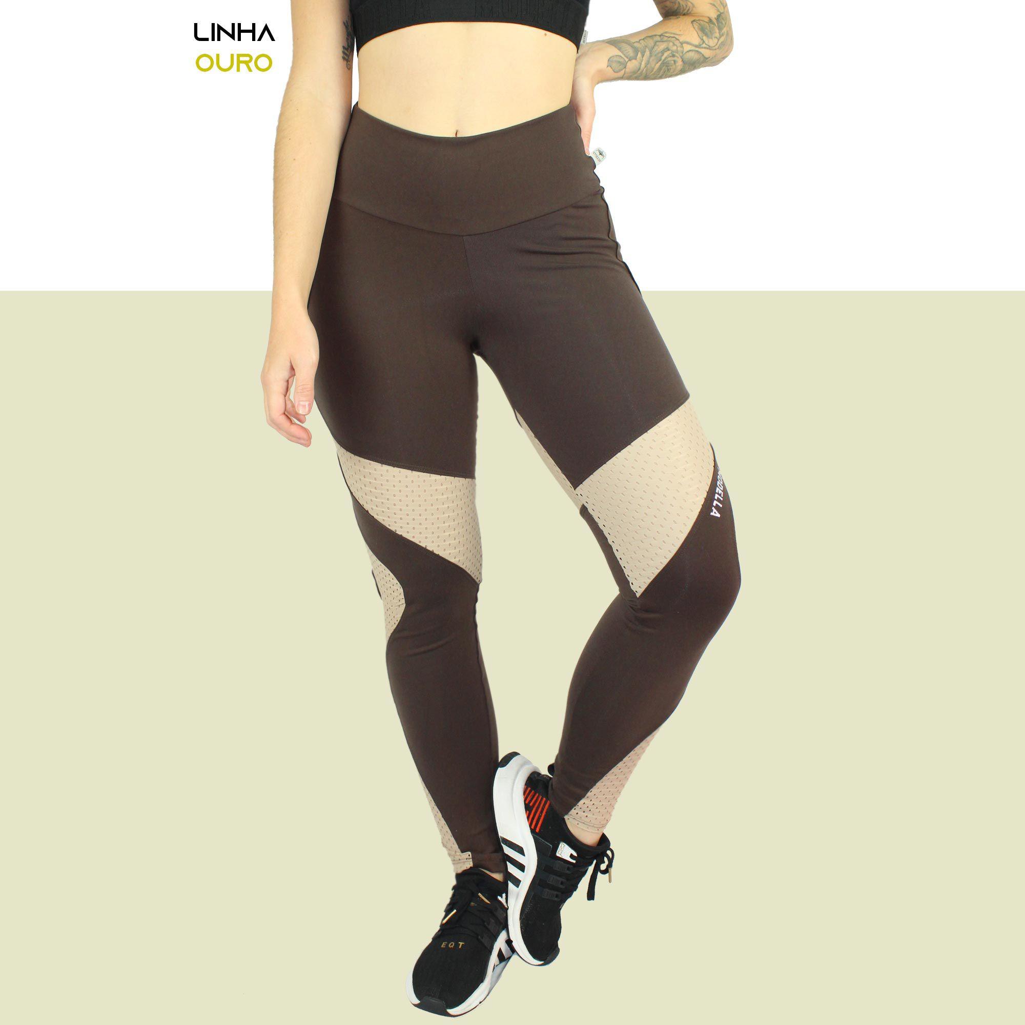 Legging Brown Com Recorte Em Tela