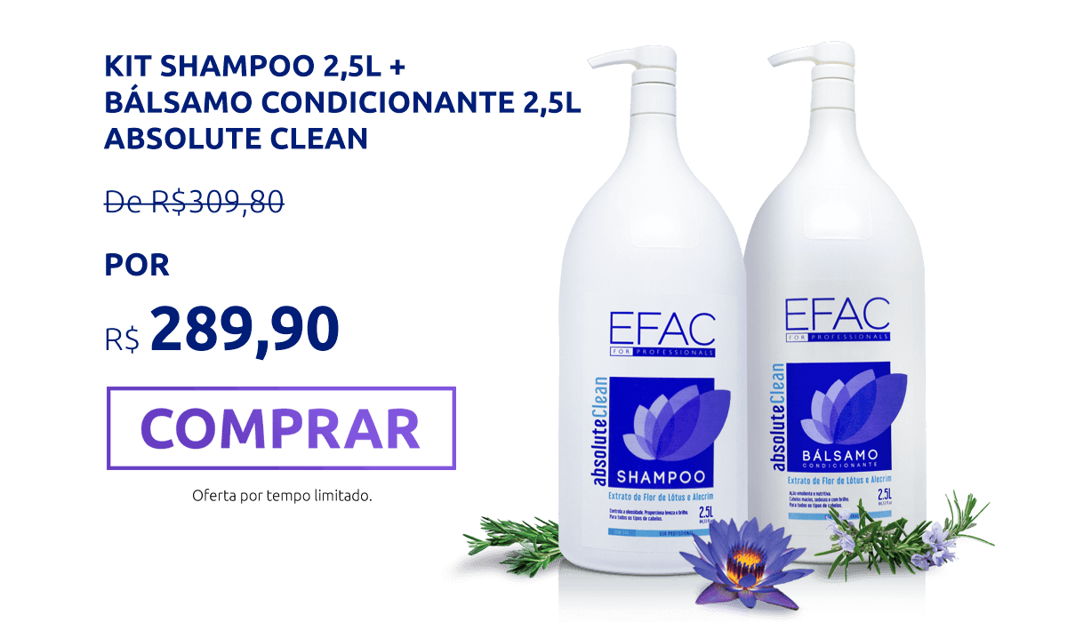 Kit Shampoo 2,5l +  Bálsamo condicionante 2,5l Absolute Clean