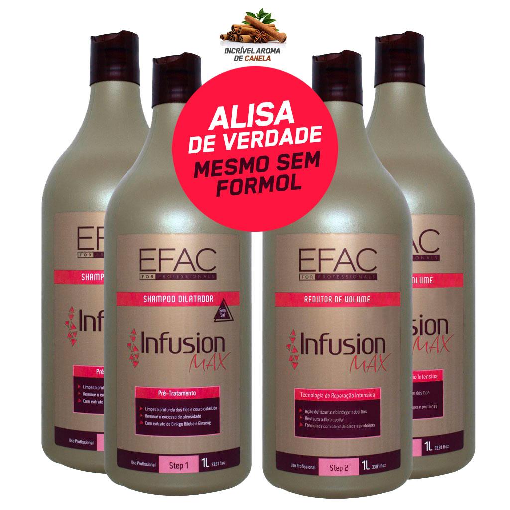 2 Kit Escova Progressiva Sem Formol EFAC Infusion Max (2 Shampoo Antiressíduos + 2 Escova Progressiva)