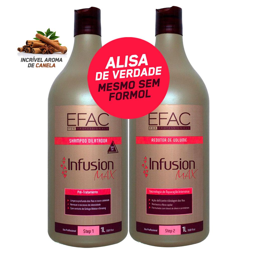 Kit 1 Shampoo Antirresíduos + 1 Escova Progressiva Sem Formol + EFAC Infusion Max