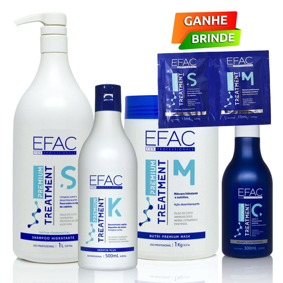 Kit Cronograma Capilar Hidratação e Cauterização EFAC Premium Treatment