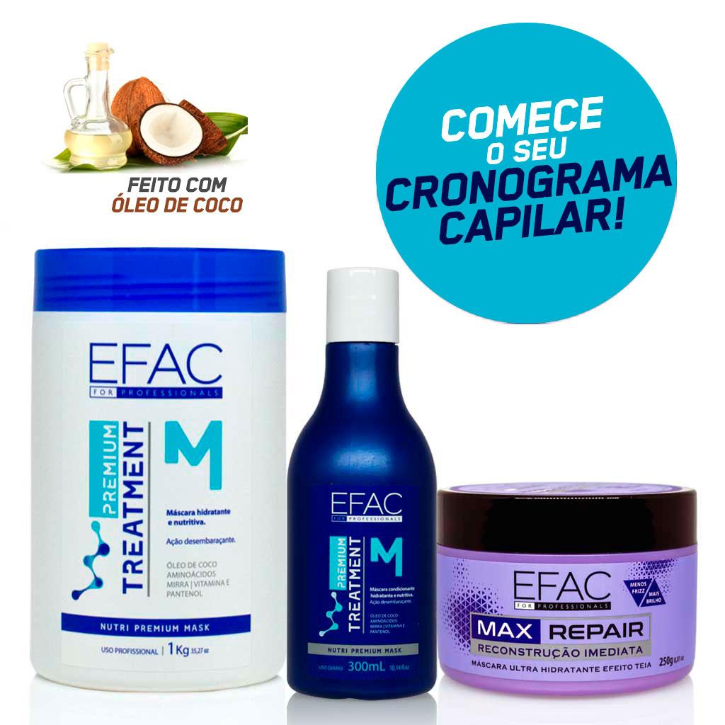 Kit Cronograma Capilar com Óleo de Coco - EFAC Premium Treatment