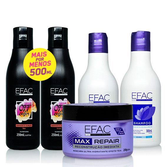 Kit Decapagem Removedor Off Color Efac + Shampoo, Condicionador e Máscara de Tratamento