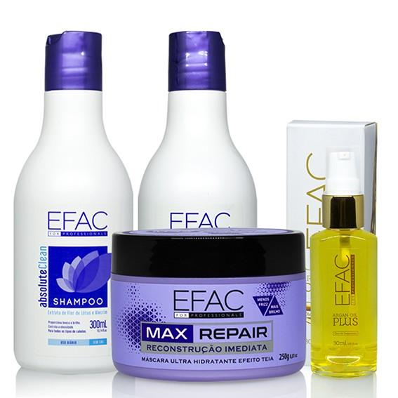 Kit Detox Capilar Absolute Clean com Máscara Ultra Hidratante Max Repair e Óleo de Argan Efac