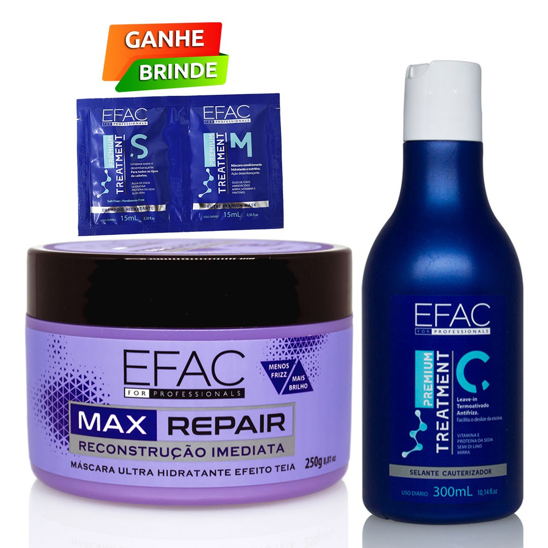 Kit Máscara Ultra Hidratante com Leave-in Termoativado Antifrizz EFAC