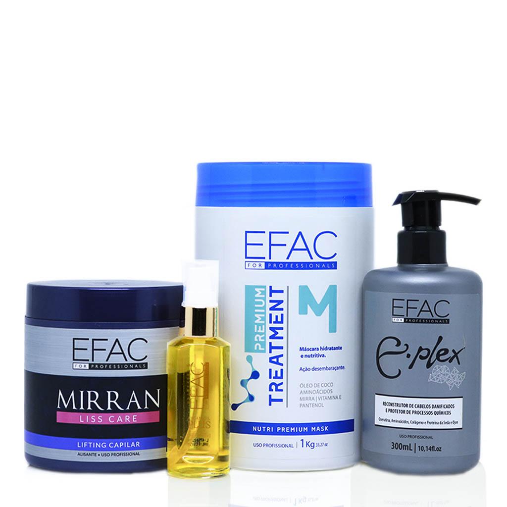 Kit Mirran Liss Care + Óleo de Argan + Máscara Nutritiva Treatment + Eplex Efac