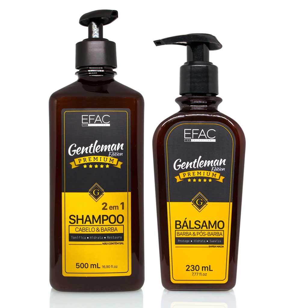 Kit Shampoo 2 em 1 + Bálsamo Barba e Cabelo - EFAC Gentleman Edition