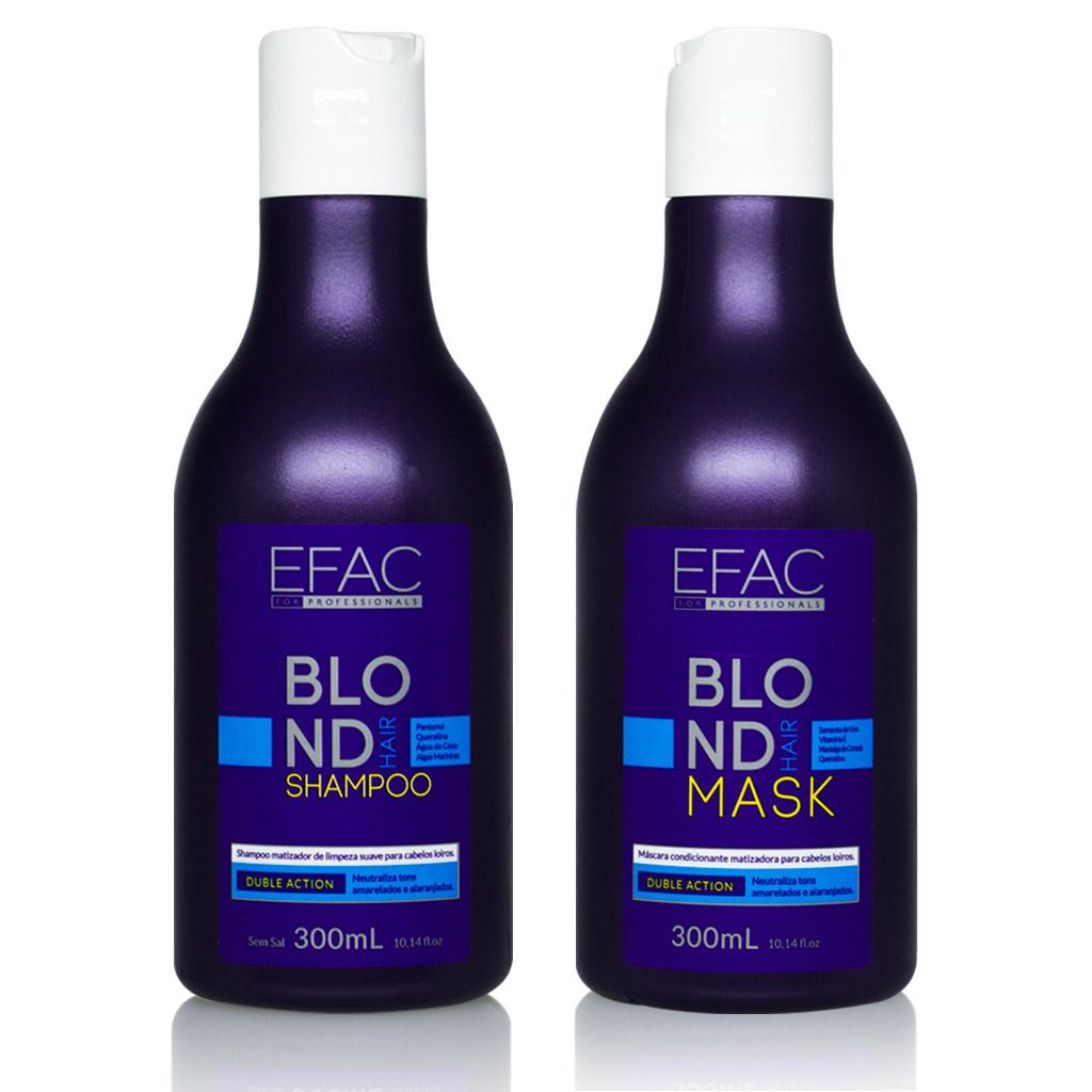 Kit Shampoo Matizador + Máscara Condicionante para Loiros EFAC Blond Hair (300mL + 300mL)
