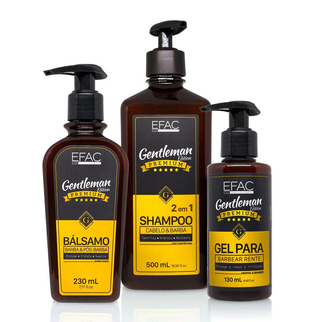 Kit Shampoo 500ml + Bálsamo + Gel para barbear 130ml
