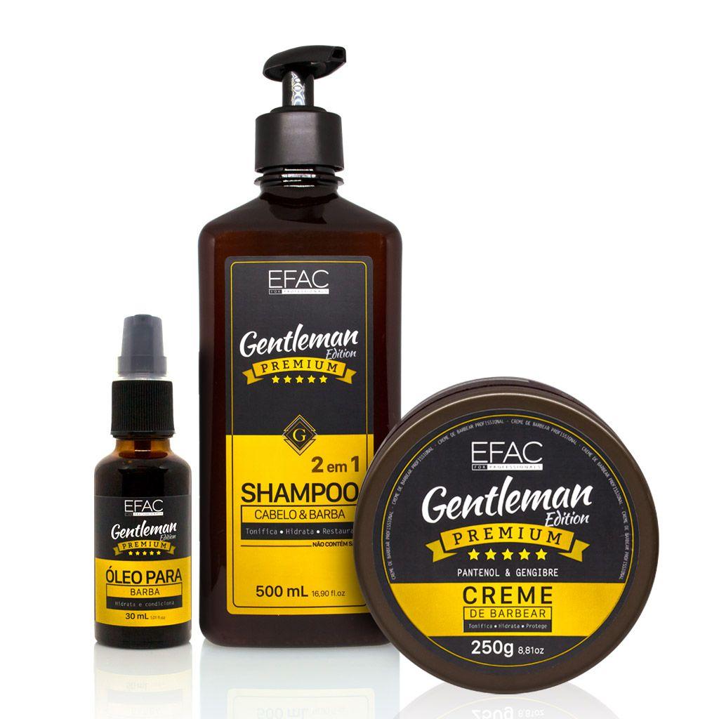Kit Shampoo 500ml + Óleo + Creme de Barbear