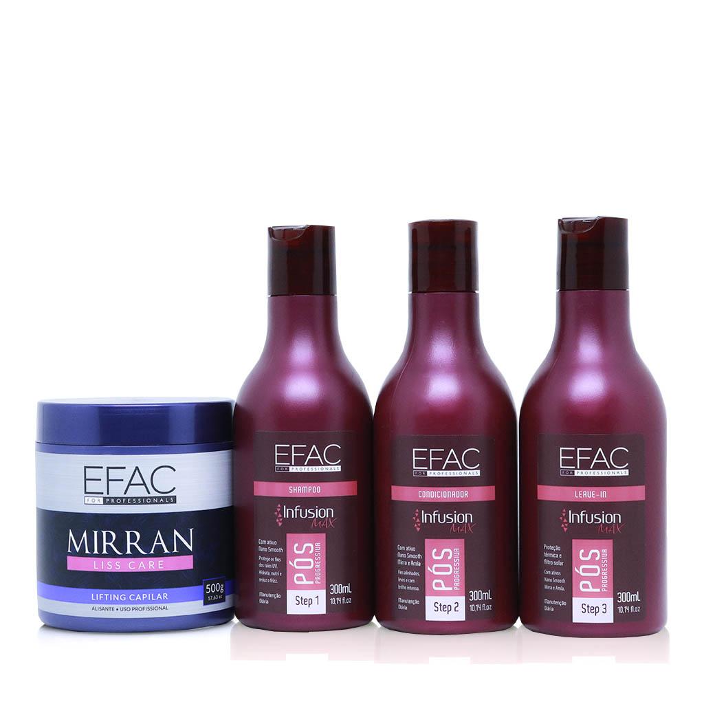Kit Shampoo, Condicionador e Leave-in - Pós-Química Infusion Max - 300ml Cada + Mirran Liss Care 500g