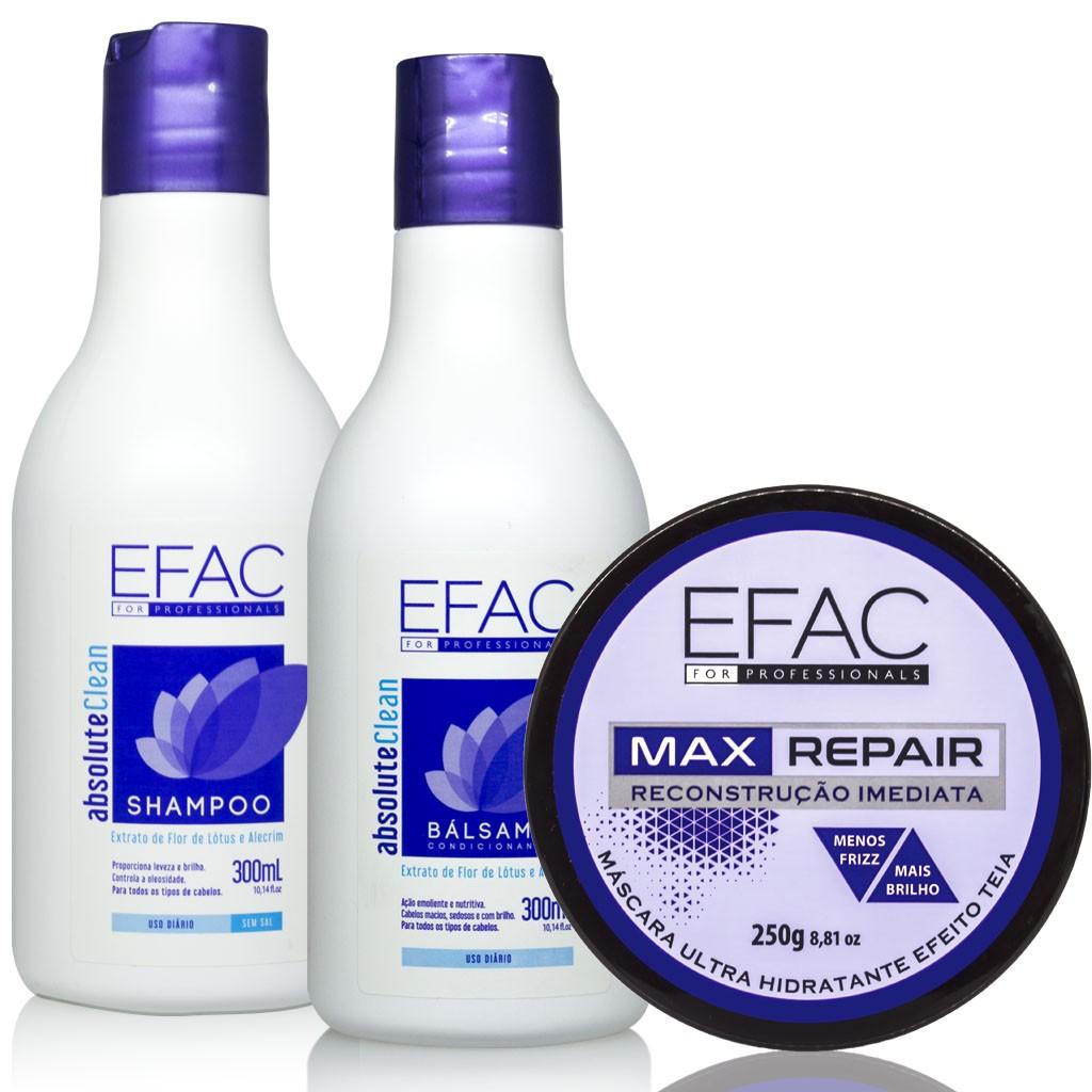 Kit Shampoo e Condicionador Absolute Clean com Máscara Ultra Hidratante Max Repair Efac