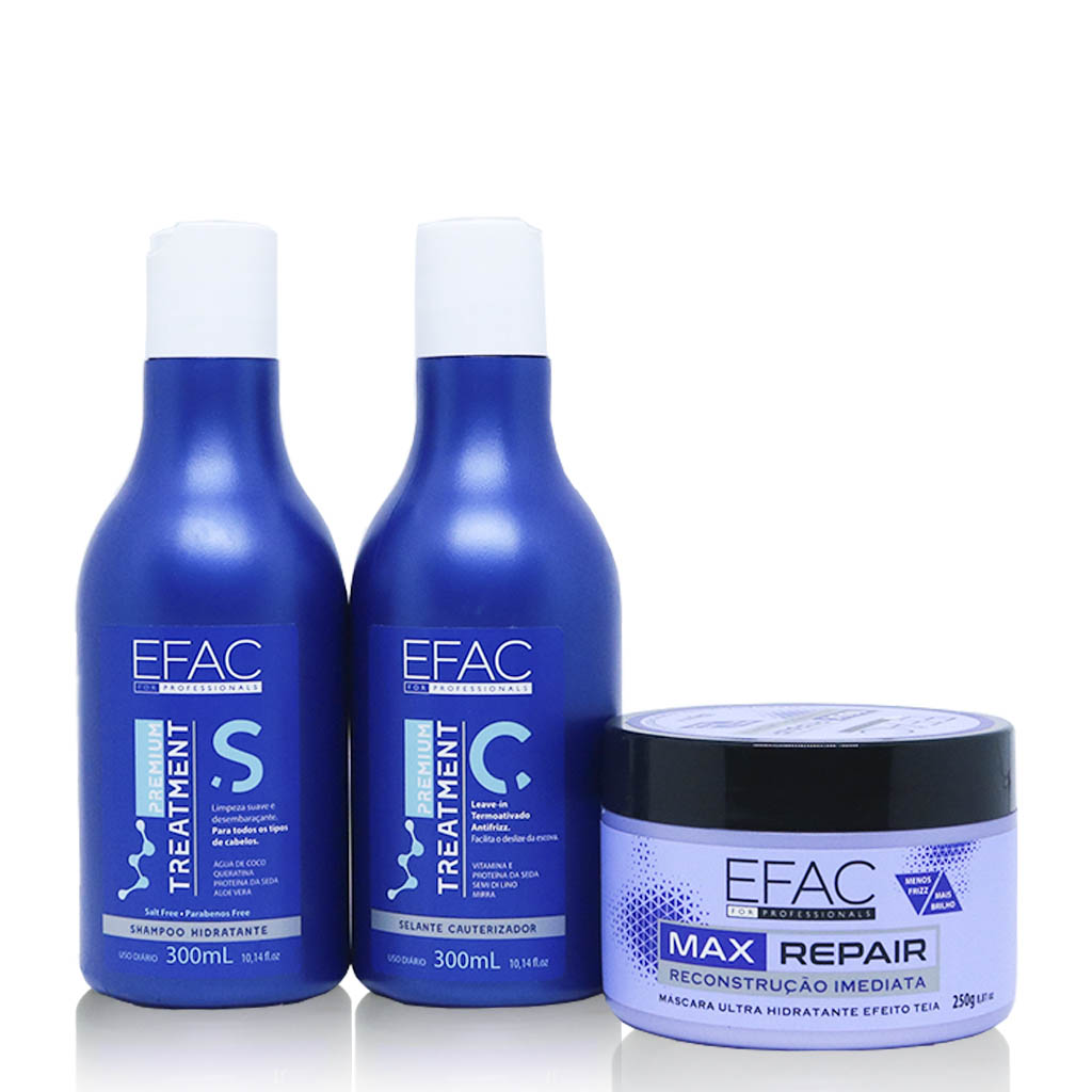 Kit Shampoo + Leave-in Premium Treatment - 300ml Cada + Máscara Max Repair 250g