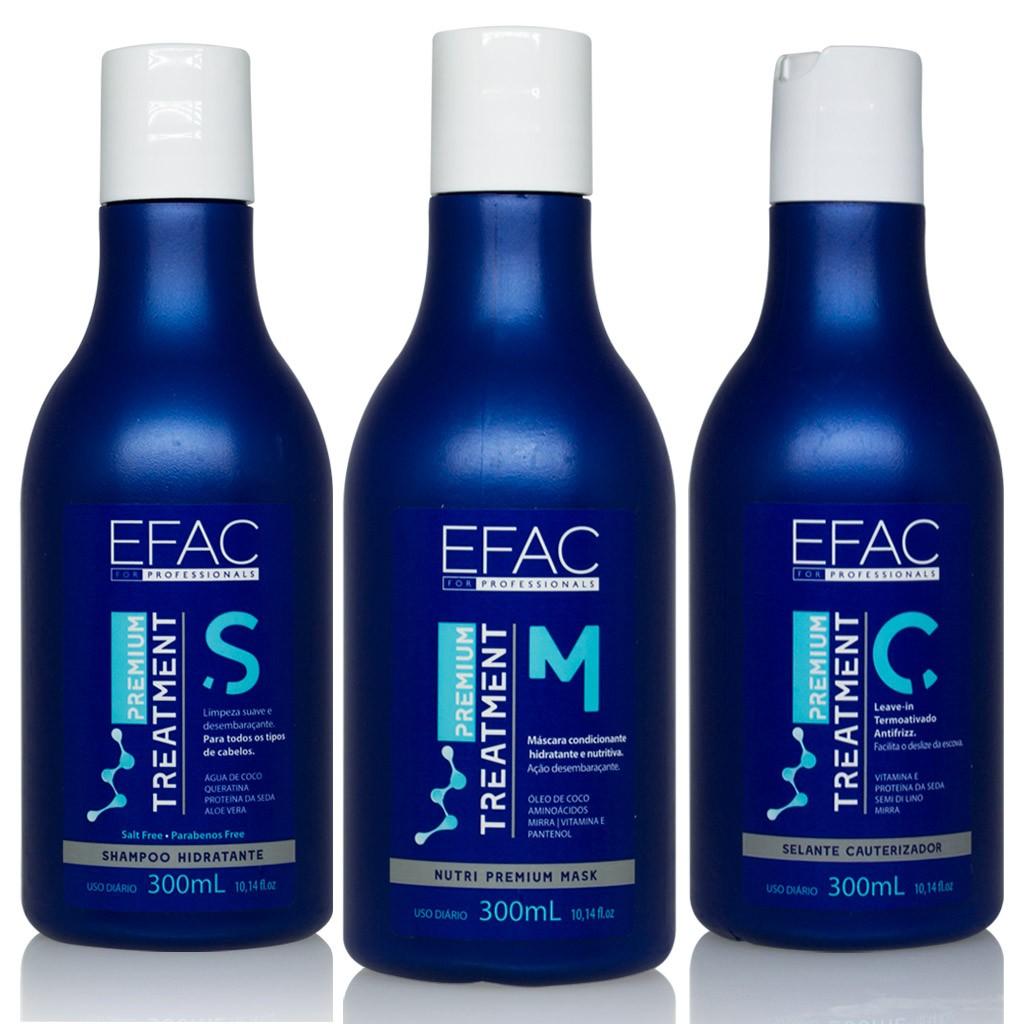Kit Shampoo Hidratante 300mL + Máscara condicionante 300mL + Leave-in 300mL EFAC Premium Treatment