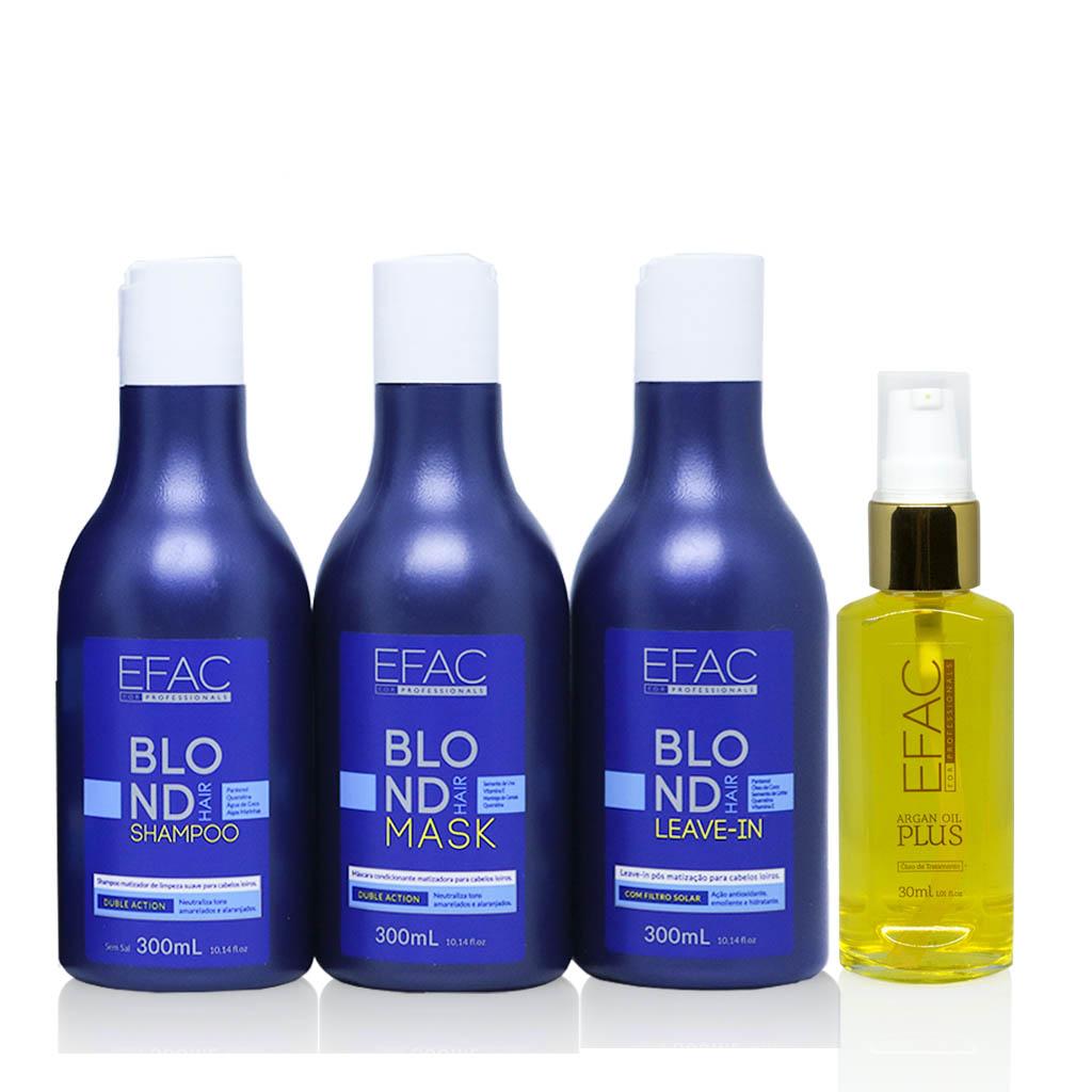 Kit Shampoo Hidratante + Máscara + Leave-in e Óleo de Argan EFAC Premium Treatment