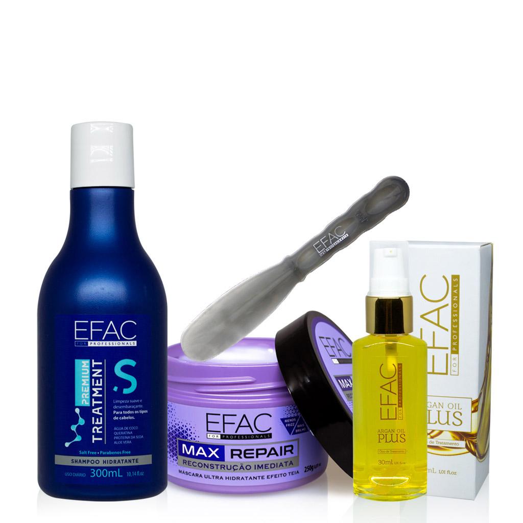 Kit Shampoo Hidratante + Máscara Max Repair + Óleo de Argan EFAC