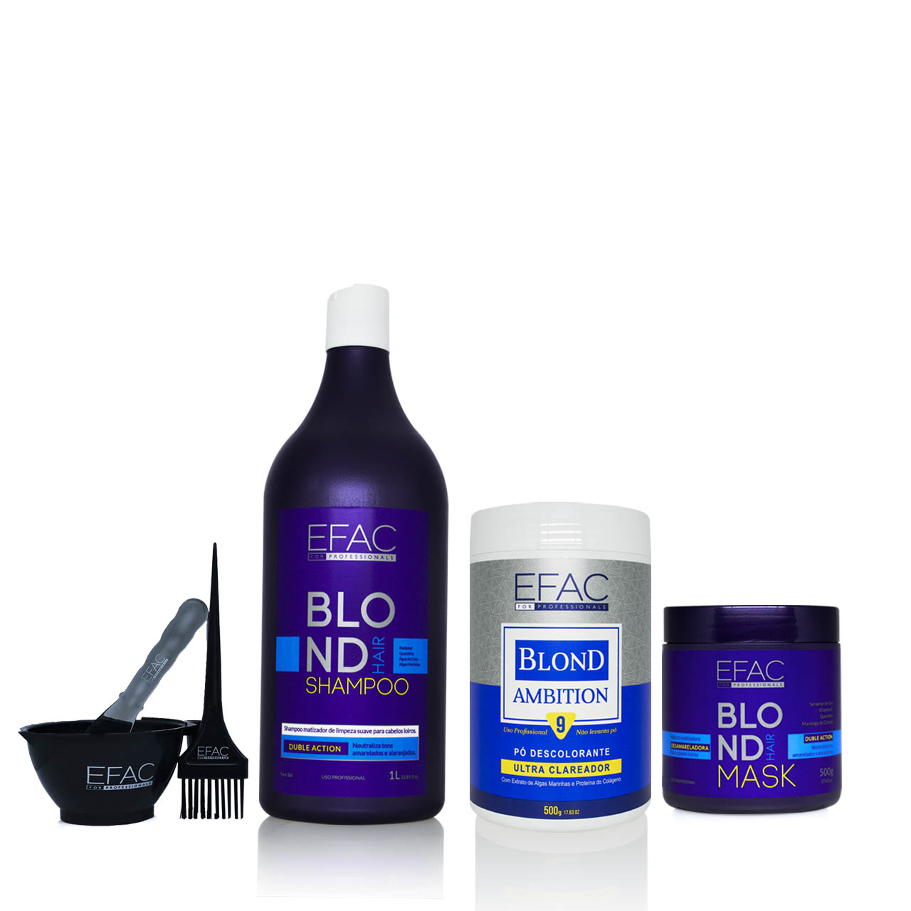 Kit Shampoo + Máscara Blond Hair + Pó Descolorante Blond Ambition Efac