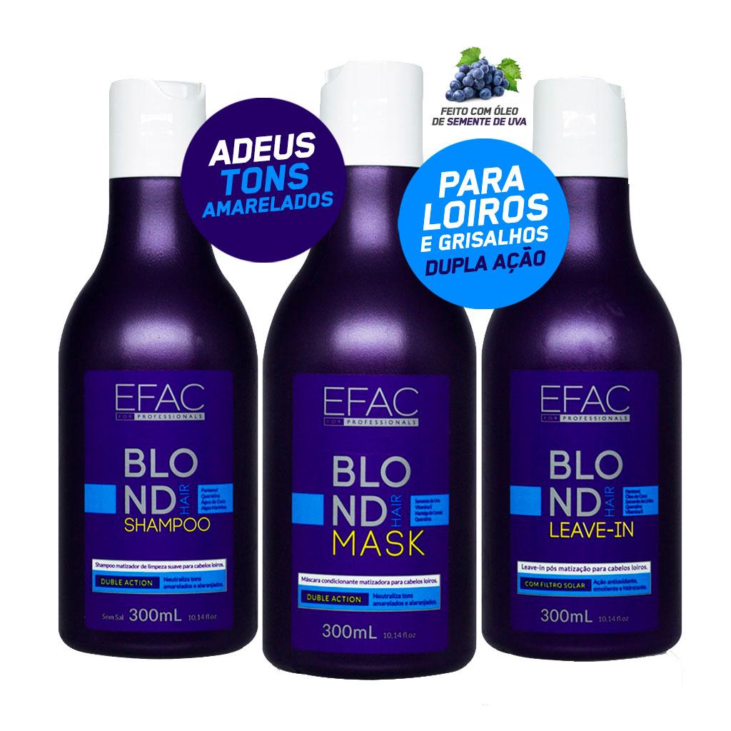 Kit Shampoo + Máscara Condicionante + Leave-in para Loiros EFAC Blond Hair (300mL + 300mL + 300mL)