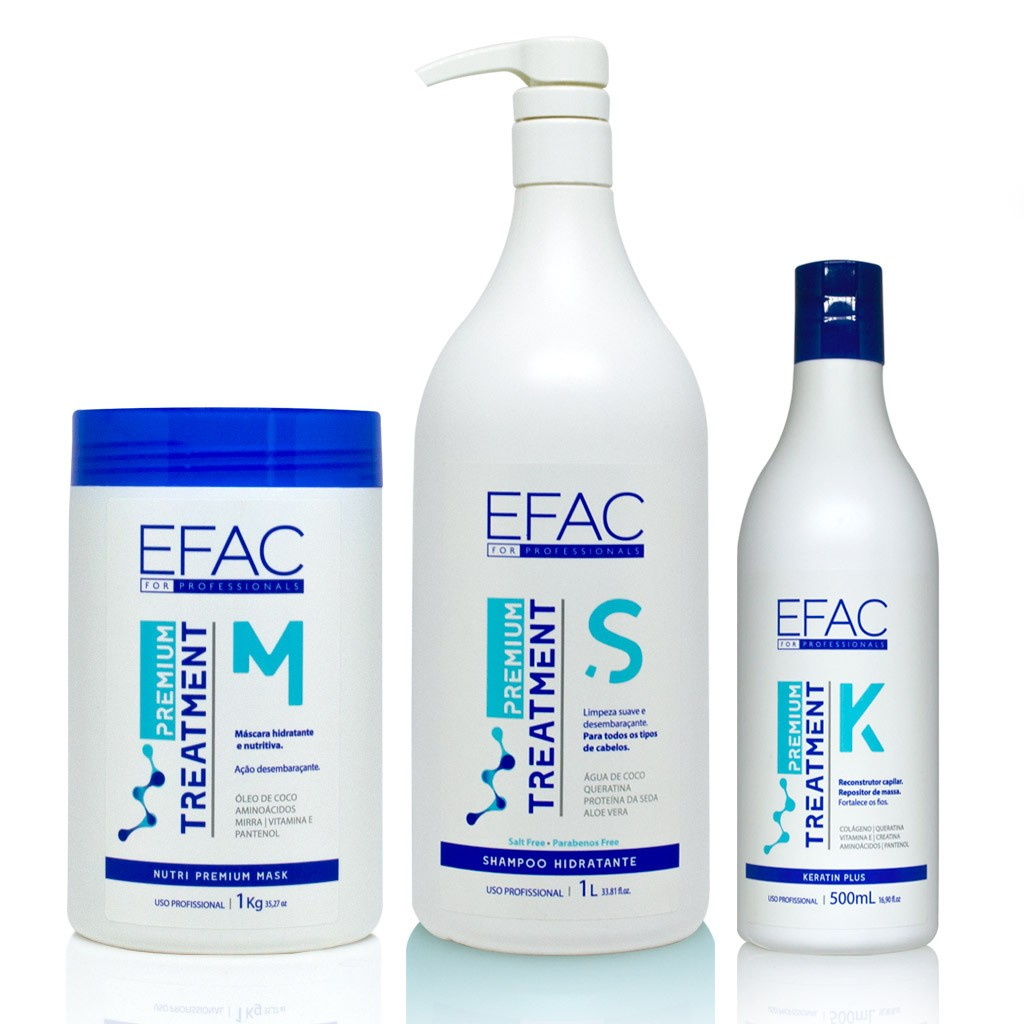 Kit Shampoo, Máscara e Queratina EFAC Premium Treatment