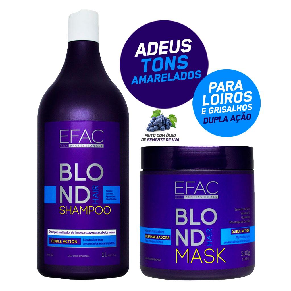 Kit Shampoo Matizador 1L + Máscara Matizadora para Loiros EFAC Blond Hair - 500g EFAC Blond Hair