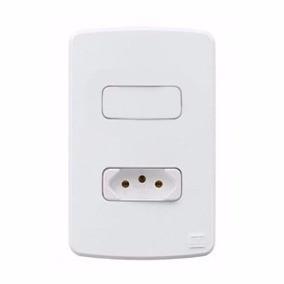 """Conjunto 1 Interruptores Simples com tomada 10A+ Placa 4x2"""" + Suporte Linha Composé Branco 13272420 - Weg"""