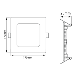 Luminária Painel Quadrado de embutir - 17cm