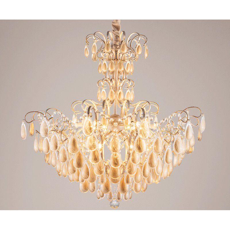 Lustre Piedra Cristal Dourado 16 lampadas - Stella