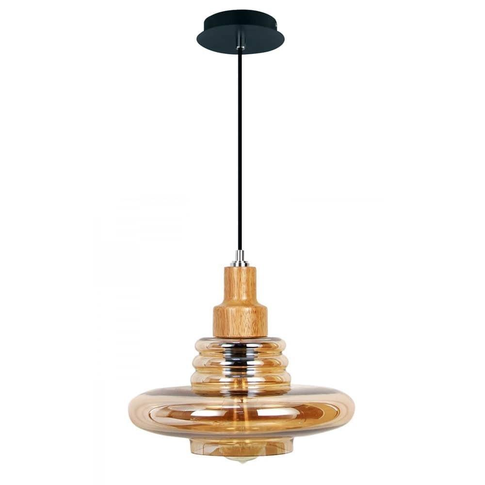 Pendente Lampo em Vidro Âmbar com detalhe em Madeira NewLine 462