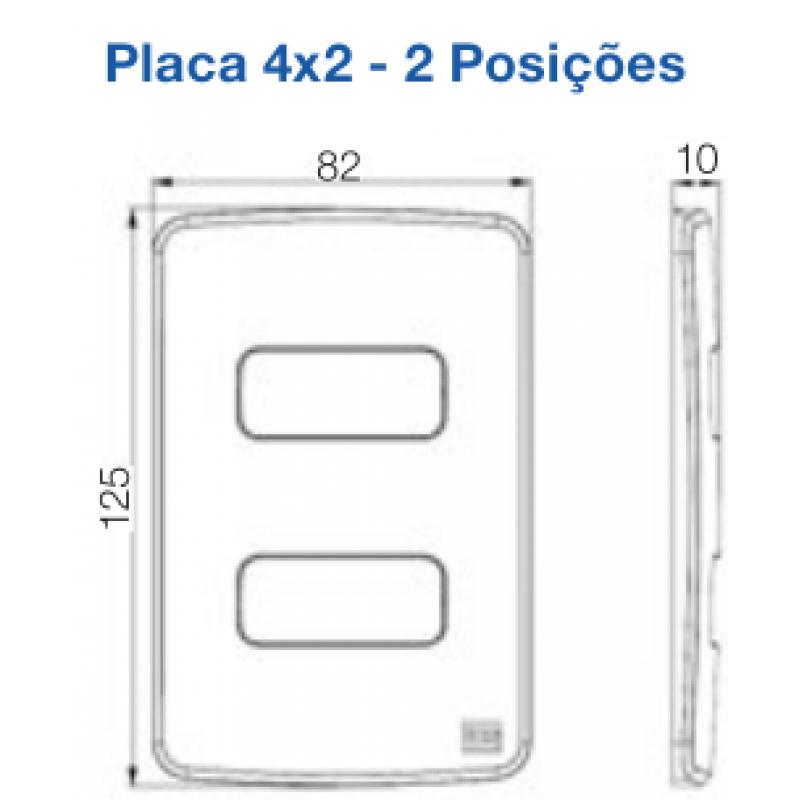 """Placa 2 Postos com suporte 4x2"""" Linha Composé Branco - Weg"""