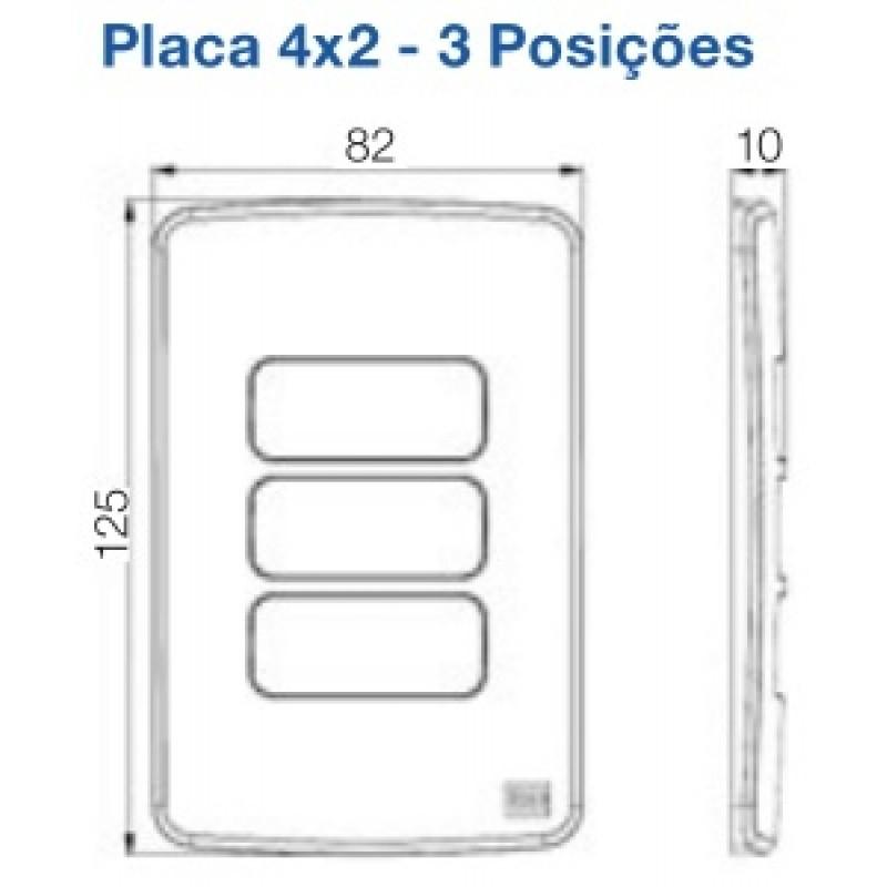 """Placa 3 Postos com suporte 4x2"""" Linha Composé Branco - Weg"""