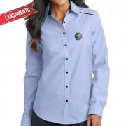 Camisa Social Feminina, Azul - Bordada - MCC, sem Bolso Manga Longa Baby Look