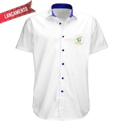 Camisa Social Masculina Branca - Manga Curta - Bordada, sem Bolso  - 60 anos