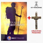 KIT PEREGRINO I - CRUCIFIXO PEQUENO DOURADO + LIVRO GUIA DO PEREGRINO
