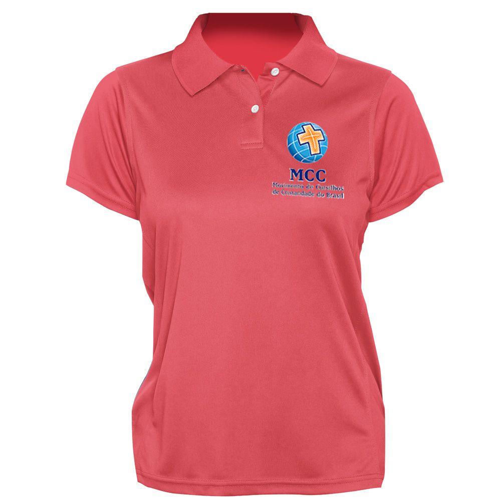 Camisa Polo Feminina Bordada