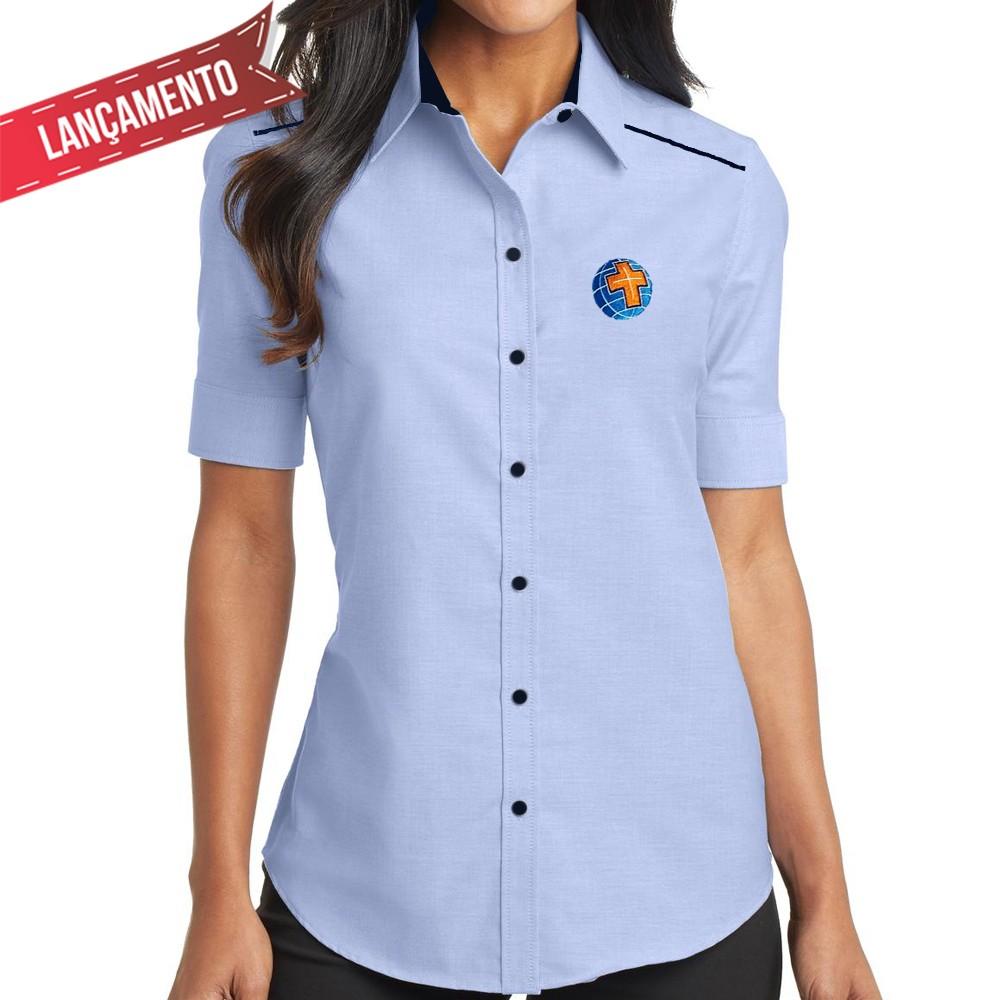 Camisa Social Feminina, Azul - Bordada - MCC, sem Bolso Manga Curta Baby Look  - Cursilho