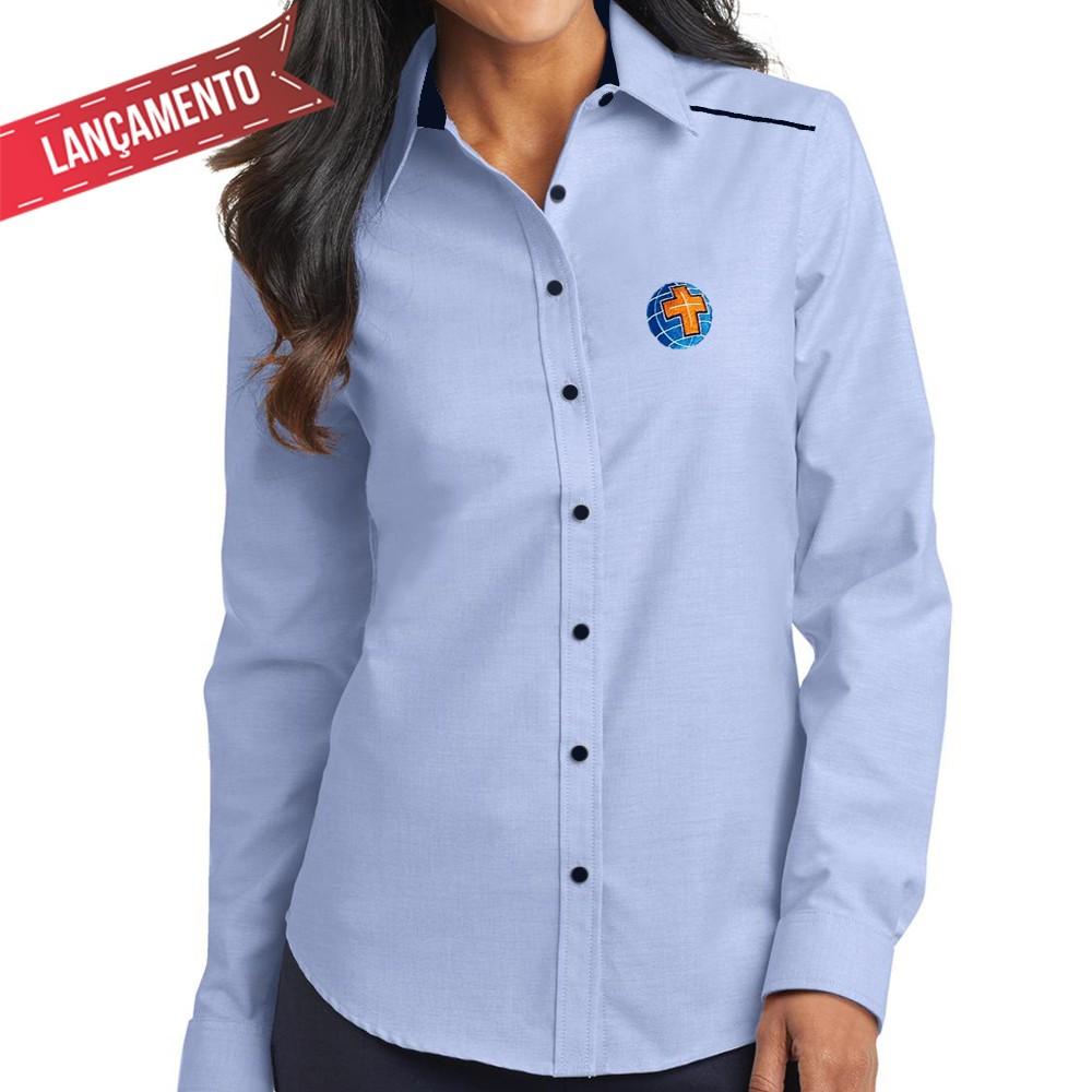 Camisa Social Feminina, Azul - Bordada - MCC, sem Bolso Manga Longa Baby Look  - Cursilho