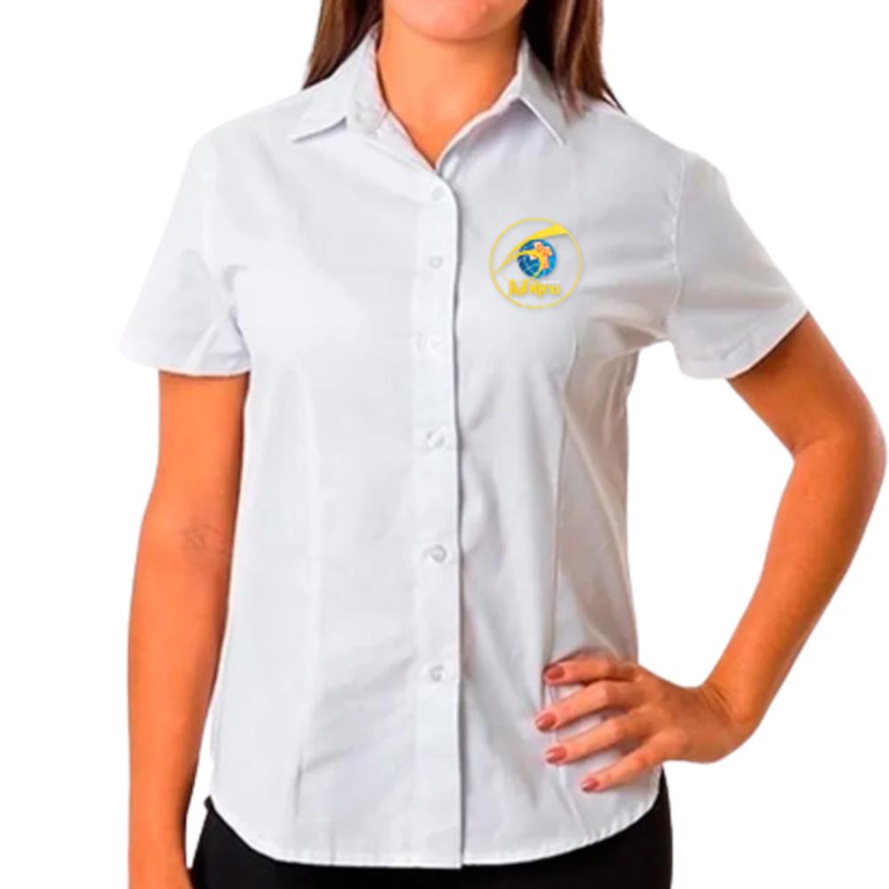 Camisa Social Feminina Baby Look Branca Lisa Manga Curta 60 anos  - Cursilho