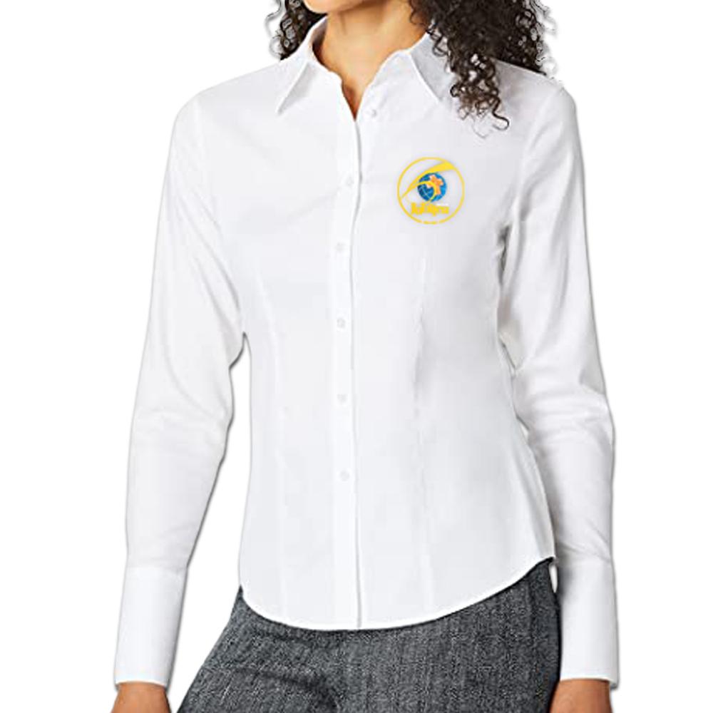 Camisa Social Feminina Branca Lisa Manga Longa Baby Look 60 anos  - Cursilho
