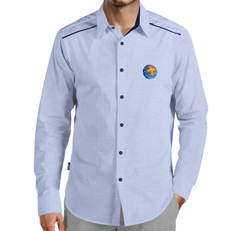 Camisa Social Masculina Azul - Bordada - MCC, sem Bolso  - Cursilho