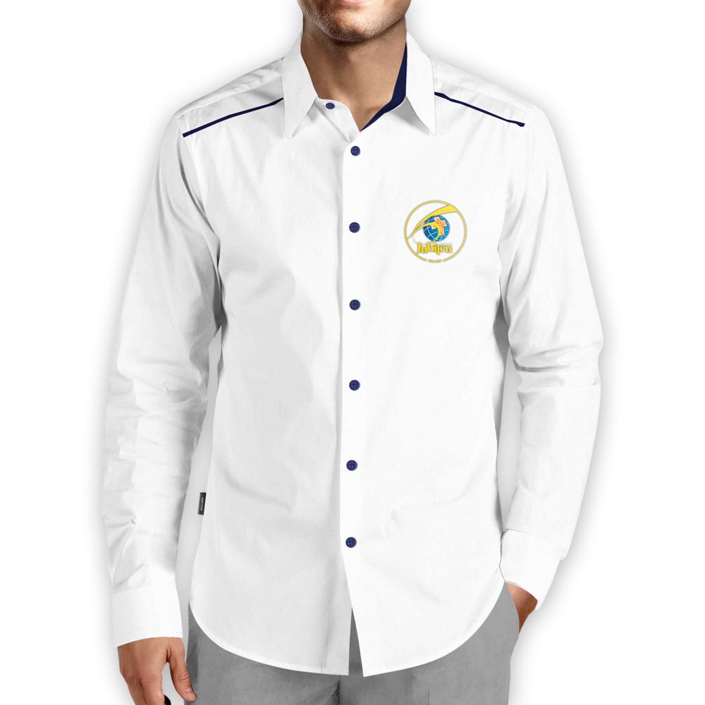 Camisa Social Masculina Branca com Detalhes em Azul Manga Longa 60 anos  - Cursilho